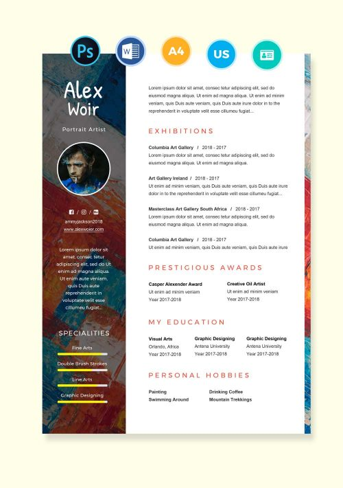 Artist and Painter Resume Template