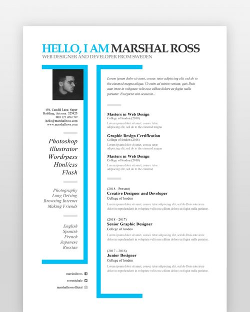 Creative One Page Designer Resume