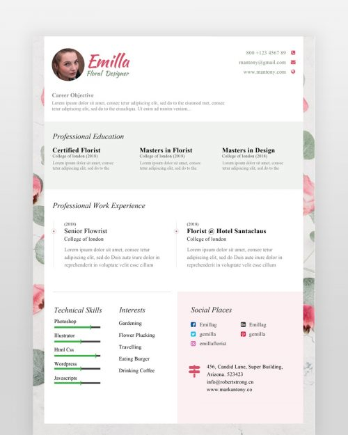 Girly Resume Template