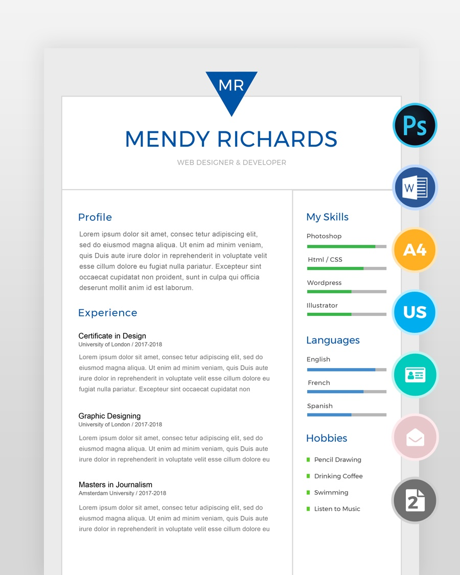 Two Page Designer Resume Templateover
